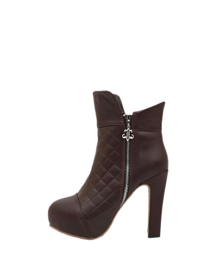 Rhombus-pattern Stitched High-heel Leather Boots | BlackFive #vegan #leather #booties #boots $52  #fashion #style #shopping #shoes #accessories #heels #blackfive #mystylespot