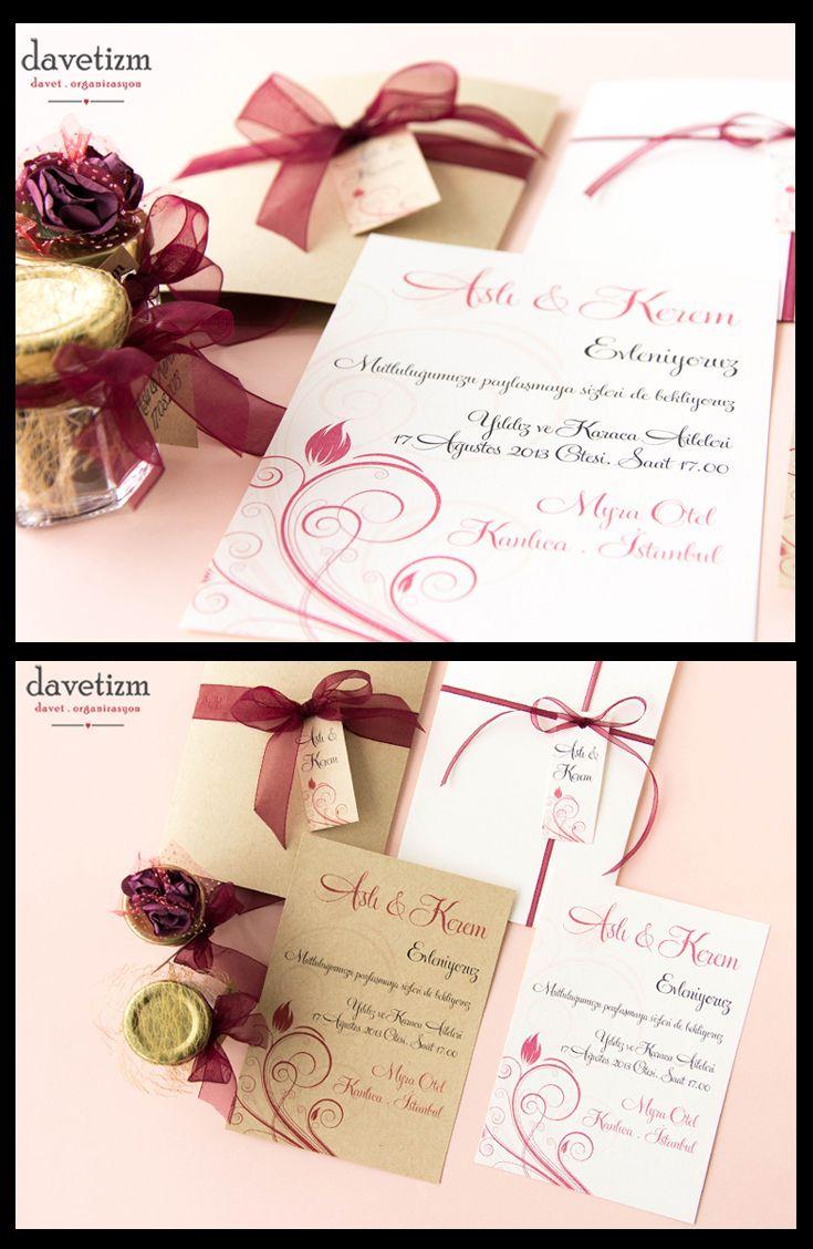 Zarif lale figürlerini 2015 yılının rengi Marsala ile buluşturan bu davetiye ile görkemli düğünlerinize renk katabilirsiniz. #davetizm #davetiye #wedding #invitation