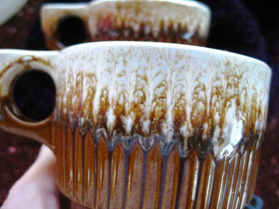 Vintage Montmouth Ribbed Brown Drip USA Pottery by ChinaGalore