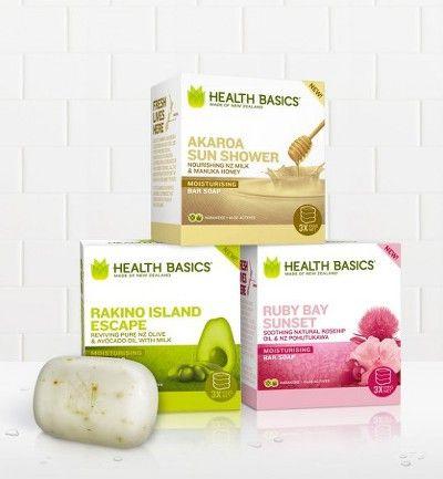 천연, 자연의 이미지를 전하는 아름다운 욕실화장품 패키지 디자인. Health Basics