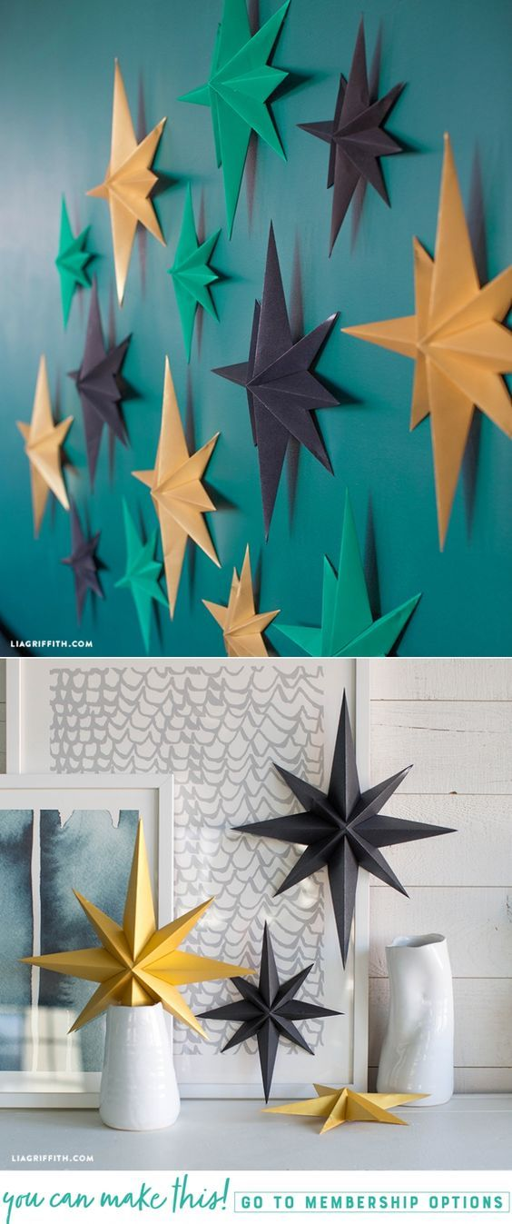 Mod Paper Stars - Lia Griffith - www.liagriffith.com #spons #paperpapers #diyidea #diyparty #partydecor #diydecor #paper #papercraft #madewithlia
