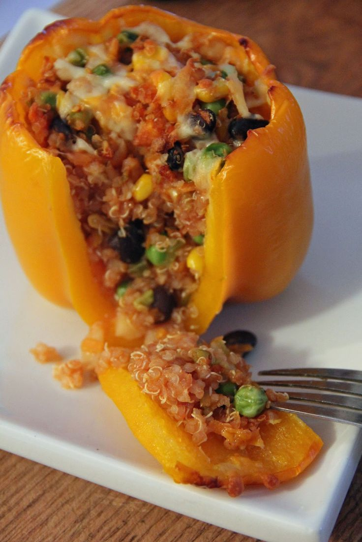 quinoa stuffed peppers (gluten-free, vegetarian, vegan) HUGE SUCCESS. I added zucchini as well. And half rotel half tomato sauce.