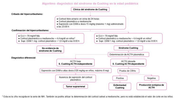 Algoritmo sindrome de Cushing en pediatría