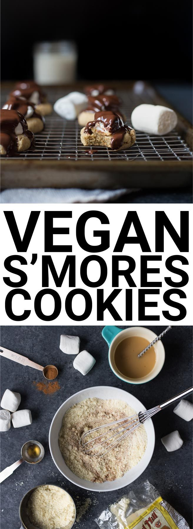 Vegan S'mores Cookies: Summer's favorite treat...in cookie form! The perfect vegan and gluten free dessert with no campfire in sight.    fooduzzi.com recipe