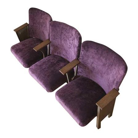 Ornate Original Cast Iron Cinema Seats, Purple Velvet