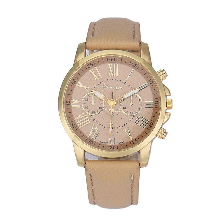 Нежные дамы наручные часы Римские цифры Искусственной Кожи Аналоговый Кварцевые Наручные Часы relogio feminino Бежевый Ma25 P14 оптовая #jewelry, #women, #men, #hats, #watches, #belts, #fashion