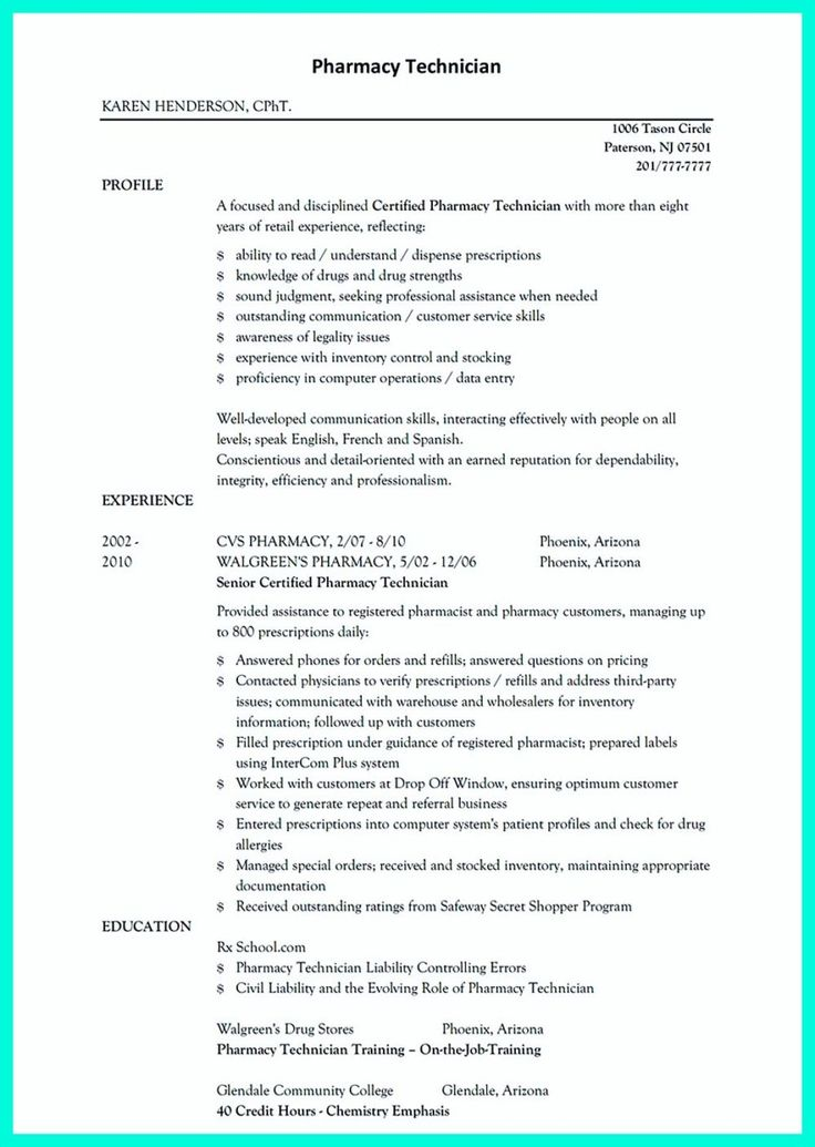 11 best Resume sample images on Pinterest Job resume, Resume and - resume pharmacy technician