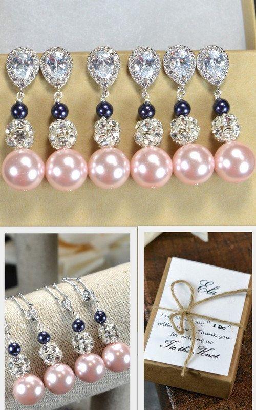 navy blue pinkWedding Jewelry Bridesmaid by thefabbridaljewelry, $29.99