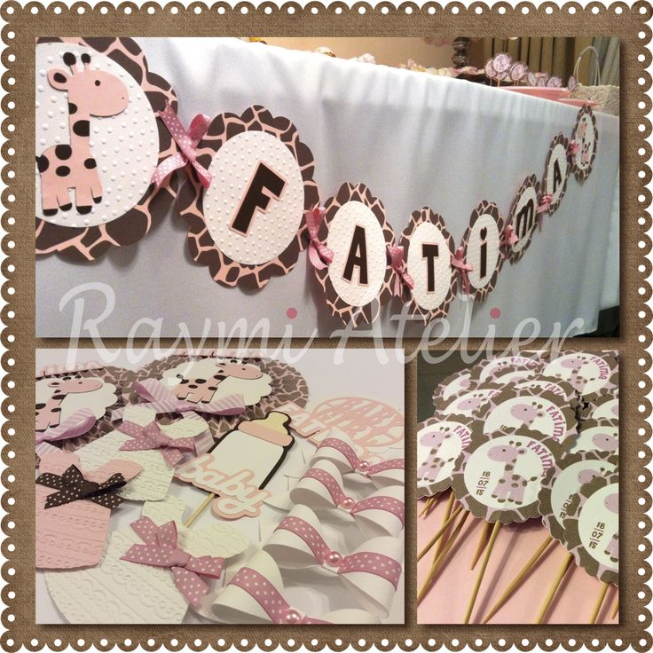 giraffe baby shower decoration - baby girl