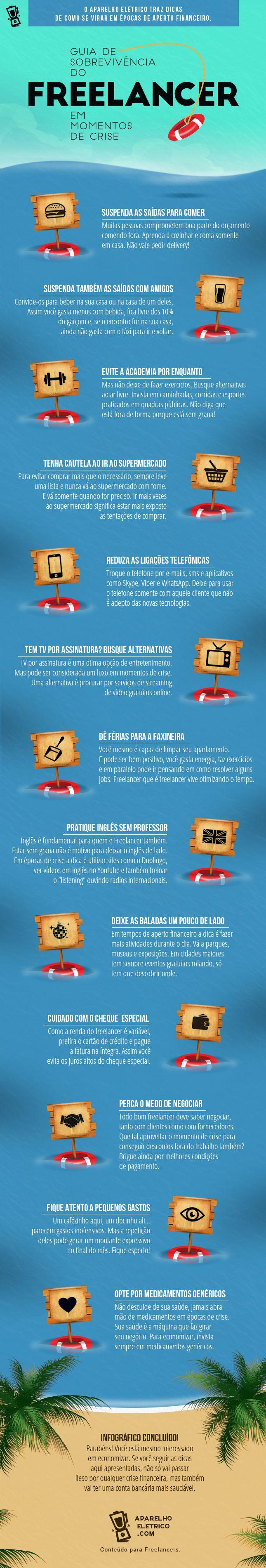 Infográfico - Veja como economizar dinheiro com o Guia de Sobrevivência do Freelancer em Momentos de Crise