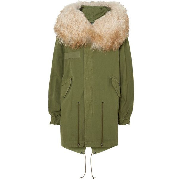 MR & MRS ITALY Hooded shearling-trimmed cotton-canvas parka (£1,095) via Polyvore featuring outerwear, coats, green, green hooded parka, hooded coat, green parka coat, green coat and hooded parka coat