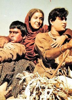 "Sunil Dutt, Nargis and Rajendra Kumar in ""Mother India,"" 1957"