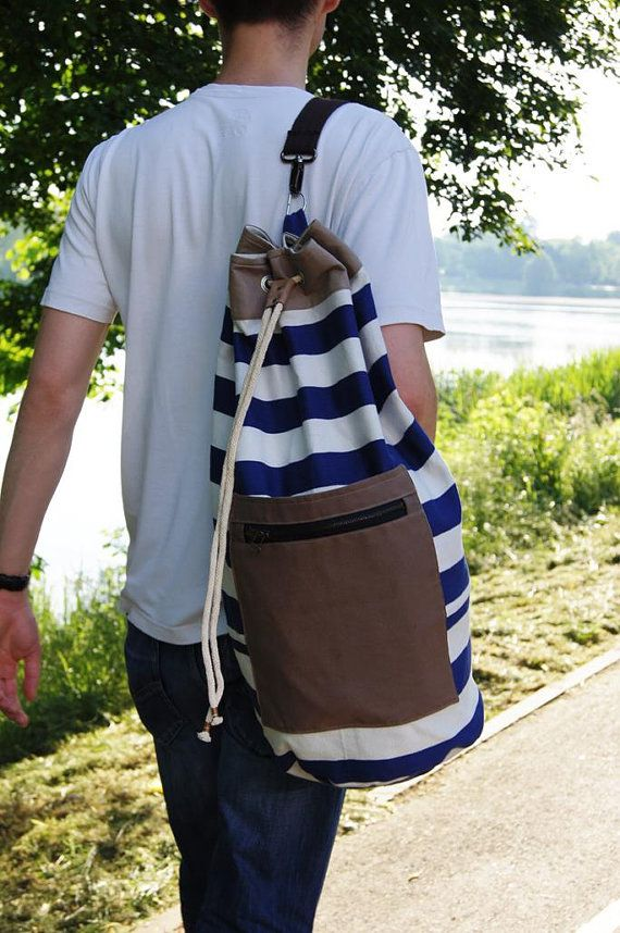 SAILOR BAG/ backpack. Striped marine sturdy cotton by KraftyCuts