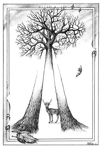 Devil's Fork Deer and Tree Illusion - http://www.moillusions.com/devils-fork-deer-tree-illusion/