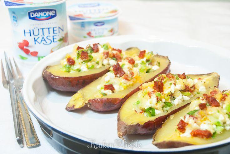 Gepofte zoete aardappel met Hüttenkäse - Keuken♥Liefde