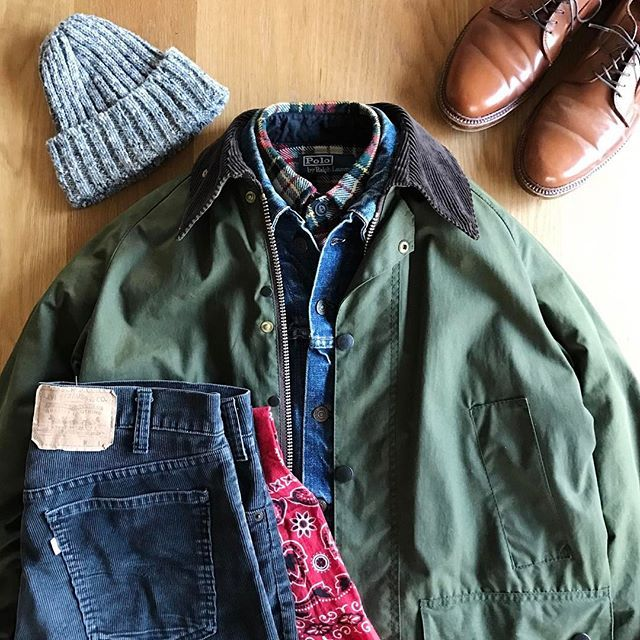 2017/03/25 10:47:08 the.daily.obsessions Today's Outfit. ↓ #Barbour #Bedale Oiled Jacket 60's Vintage #Levis #71205 #BigE Denim Jacket #RalphLauren Heavy Weight Flannel Shirt #Highland2000 Wool Knit Cap #RRL Paisley Cotton Scarf 70's Vintage #Levis #505 Black Corduroy Pants #Alden no9905 Plain Toe Blucher Oxford #WhiskyCordovan ↓ #OutFitoftheDay #OOTD #OutFitGrid #DailyFashion #Cordinate #Vintage #Fashion #FashionPost #今日の服 #ビンテージ #ファッション #アメカジ #コーディネート #バブアー #リーバイス #ラルフローレン #オールデン