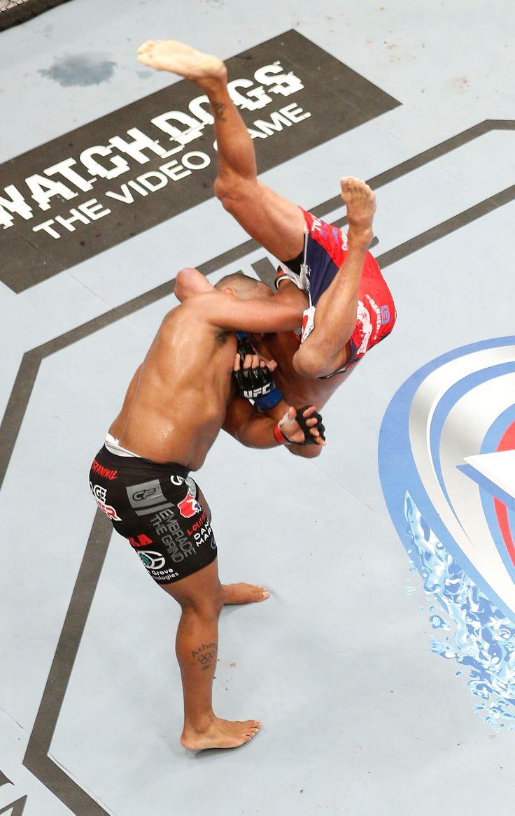 An overhead view of Daniel Cormier's slam of Dan Henderson. (Getty)