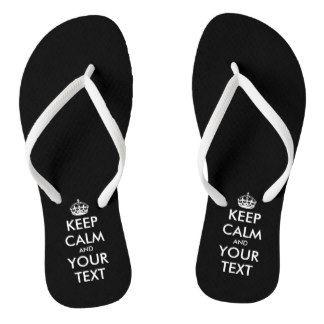 Personalized cute black Keep calm beach flip flops