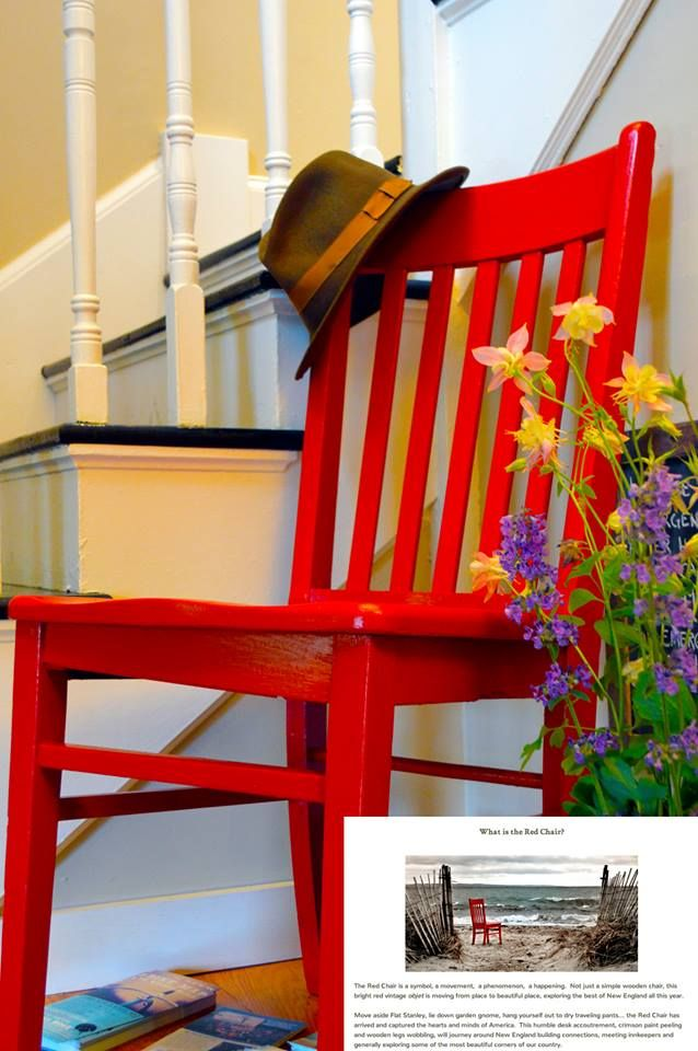 My worldly fedora with the ... worldly Red Chair! In Woods Hole, MA.