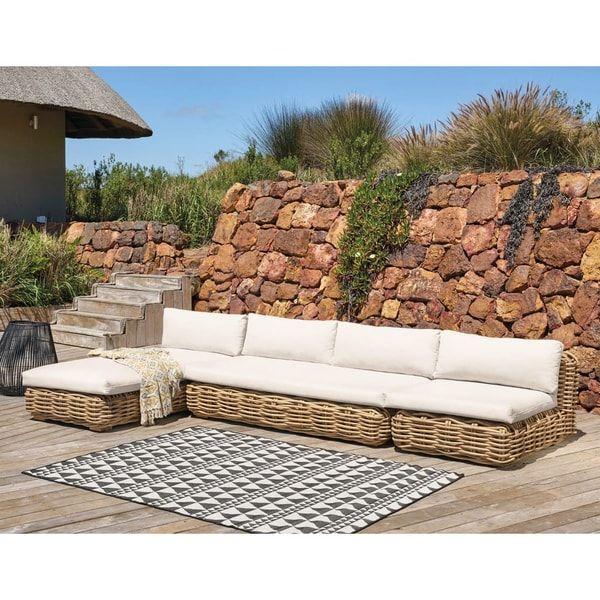 Modular Rattan Sofa Seat With Ecru Cushions St Tropez St Tropez