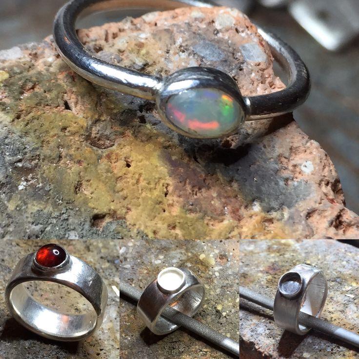 Opal Ring & Granat Carbochon Männerring Silber