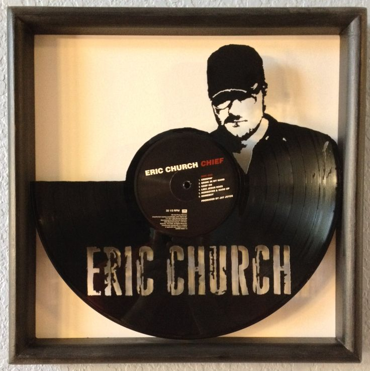 Eric Church Quot Chief Quot Hand Cut Framed Vinyl Lp Record Art