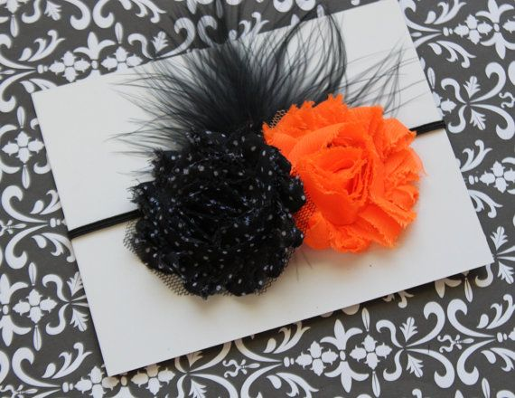 Halloween Shabby Chic Double Rosette by FairyFlowersandBows, $6.75