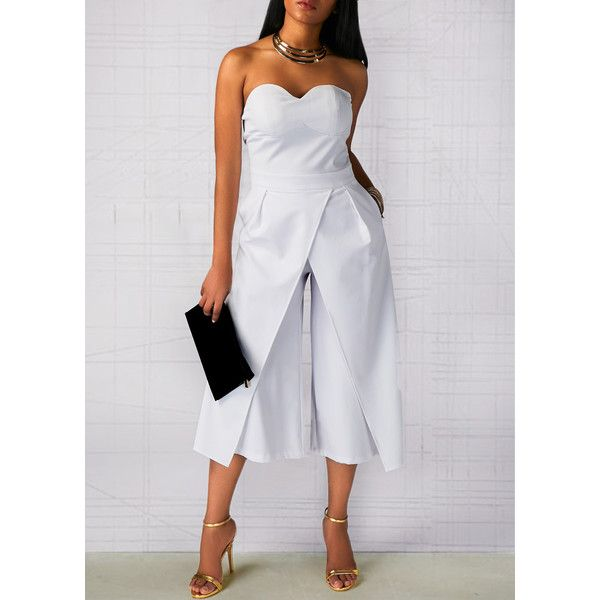 Rotita Open Back Pocket Zipper Back White Jumpsuit (40 AUD) ❤ liked on Polyvore featuring jumpsuits, white, strapless jumpsuits, patterned jumpsuit, white strapless jumpsuit, loose jumpsuit and sleeved jumpsuit