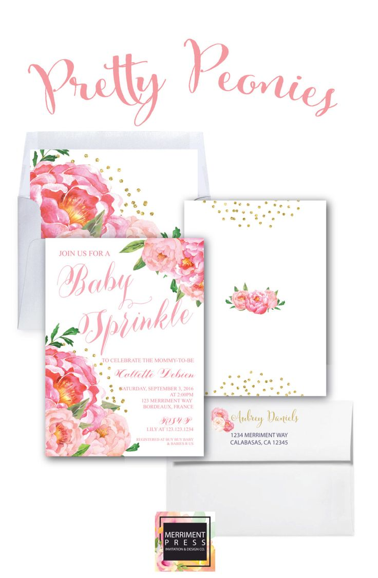 Baby Sprinkle Invitation // White Background // Peonies // Peony// Baby Sprinkle Invite // Pink // Gold Glitter // BORDEAUX COLLECTION by MerrimentPress on Etsy https://www.etsy.com/listing/295371961/baby-sprinkle-invitation-white