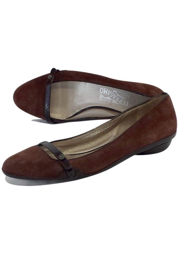 Ferragamo- Brown Suede Flats Sz 8 | Current Boutique