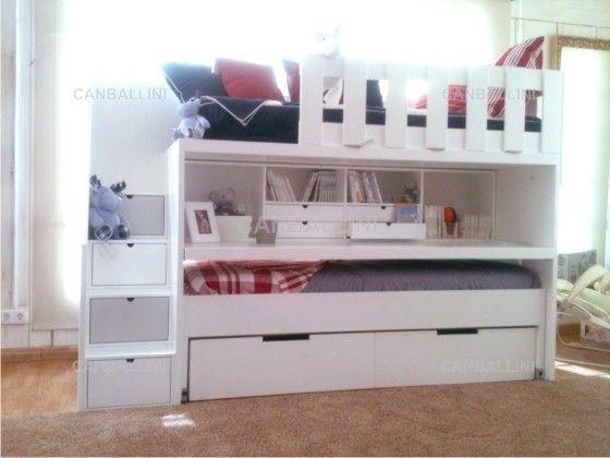 Litera con dos camas cajones escritorio extraible con for Escritorio infantil