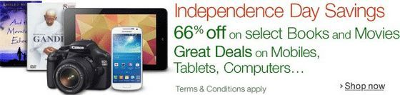 Amazon Independence Day Offer: Get Up to 66% Off on Books, Movies, Mobiles, Tablets, Camera, Laptops and other Electronics