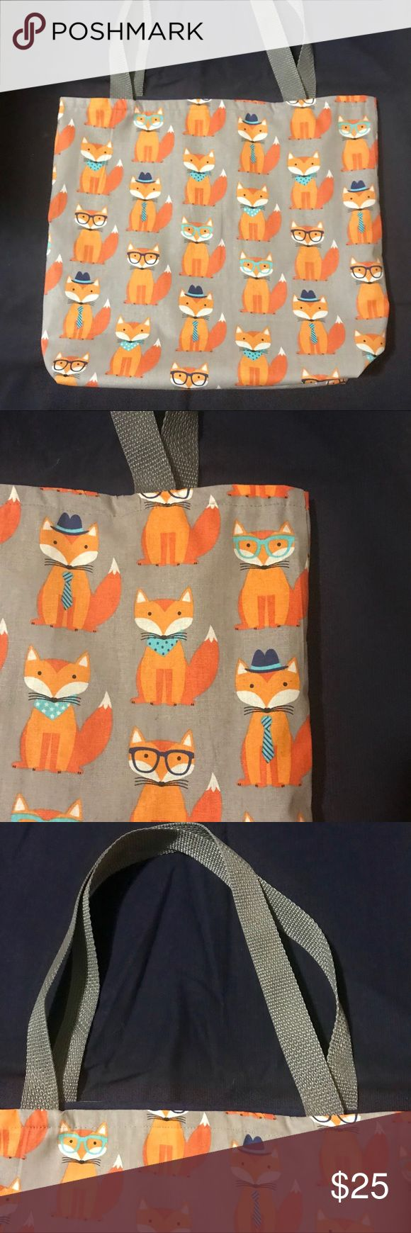 """Nerdy FOX Print TOTE cotton purse shoulder bag Adorable! Nerdy FOX print COTTON tote. 12"""" x 14"""". 3"""". In gray and orange, with navy blue liner. Great recyclable, reversible, and washable bag, all purpose! Hand make /sewn by local artist. ❤️(0227) Bags Totes"""
