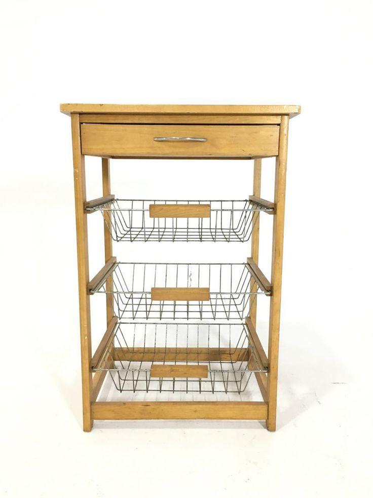 """PYF-0392--Pine Wood Iron Rod 3 Tay Shelf Kitchen Trolley (h28""""Xw19""""Xd15"""")"""