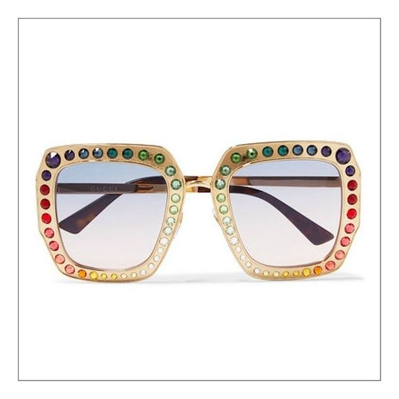 cbac12d063ce GUCCI RAINBOW CRYSTAL-EMBELLISHED SUNGLASSES STUNNING GUCCI ELTON JOHN  INSPIRED RAINBOW CRYSTAL OVERSIZED SUNGLASSES SURE TO BECOME A COLLECTORS  ITEM!