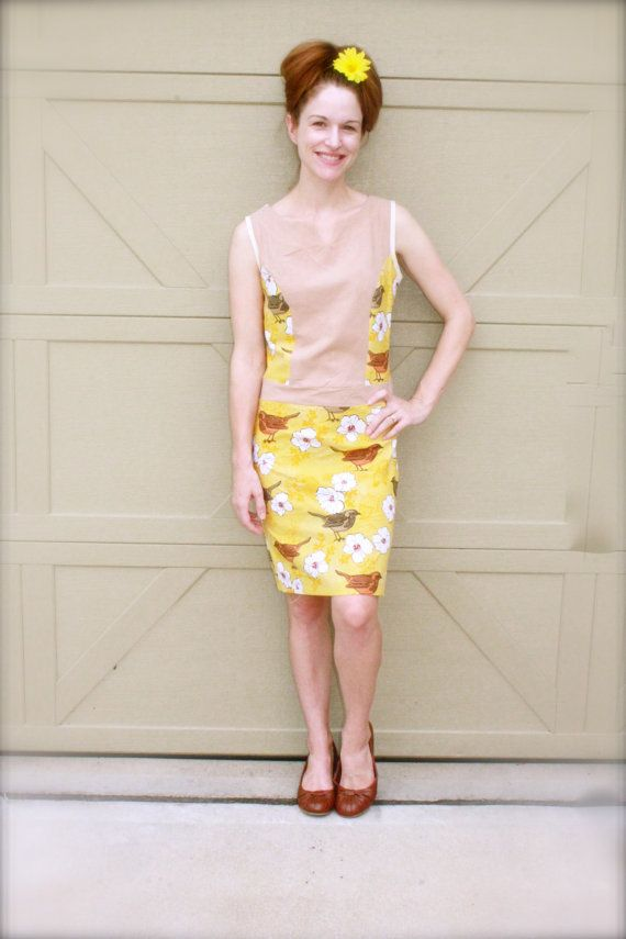 Yellow Bird Day Dress 1950's Style Dress   by SweetHomeBoutique, $85.00