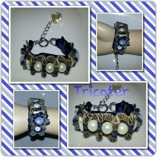 Bracelet en jeans et perle
