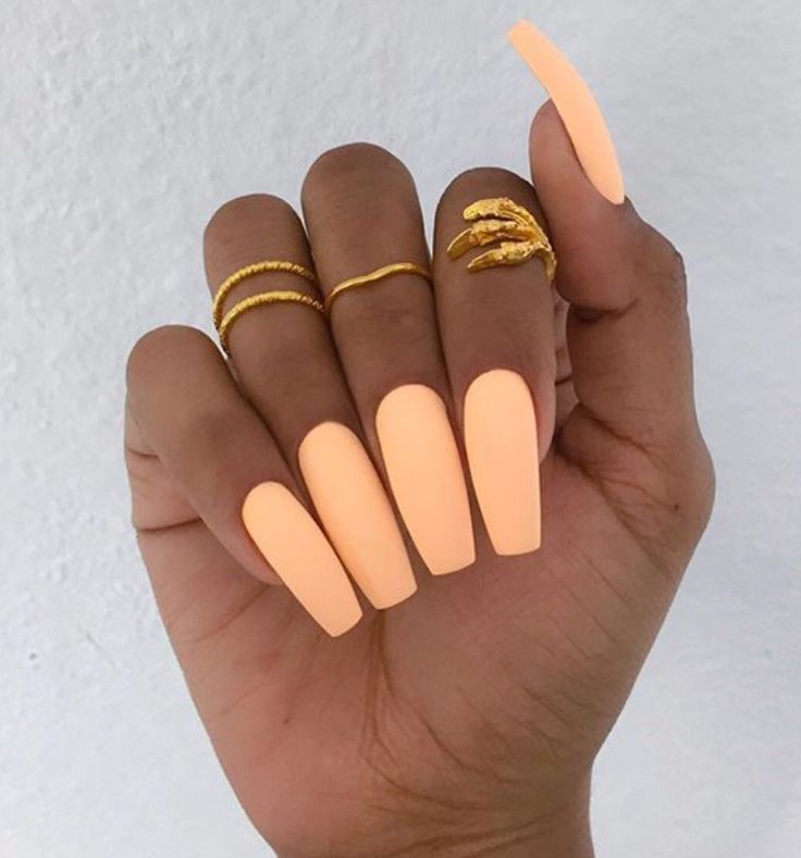 Peach Matte Nails. Love the color their just too long                                                                                                                                                                                 More