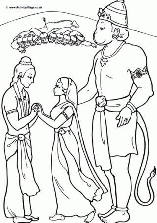 Hanuman Colouring Page