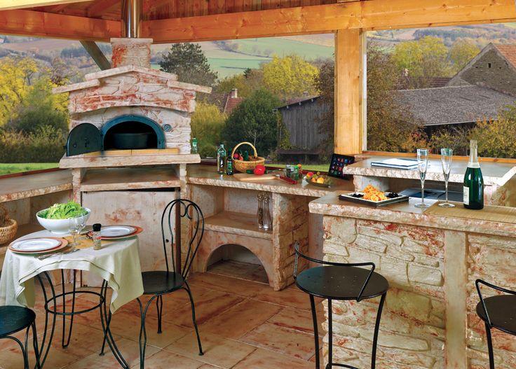 Barbecue fixe en pierre reconstituée avec gril à foyer horizontal en - cuisine d ete couverte