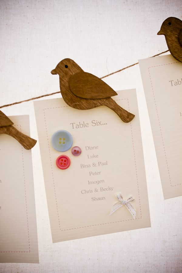 Washing Line style wedding table plan - love the bird pegs! Wonder where they are from?