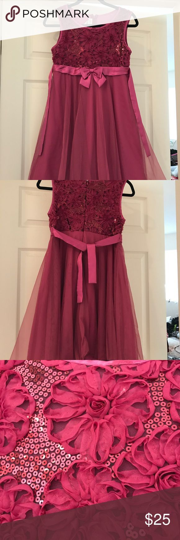 Girls fancy dress.  Size 16. Used once. Girls fancy dress. Size 16. Used once. Fuchsia color. Bonnie Jean brand. Beautiful details, especially on the top portion. Great dress for the holidays! Bonnie Jean Dresses Formal