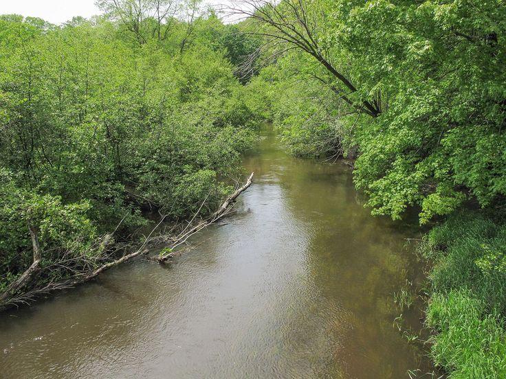 The Pigeon River in a wooded setting in Hemlock Crossing Park in Port Sheldon Township, Michigan. Photo:Tim Kiser (TimK MSI). https://commons.wikimedia.org/wiki/File:Pigeon_River_Ottawa_County_Michigan.jpg