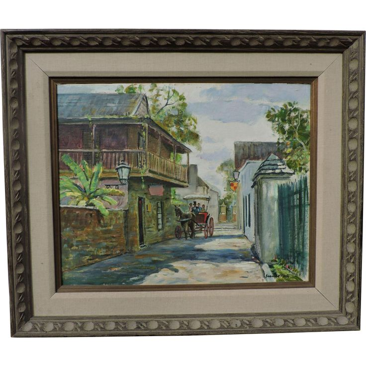EMMETT FRITZ street scene painting of St. Augustine, Florida, oil on from therecklessnecklace on Ruby Lane