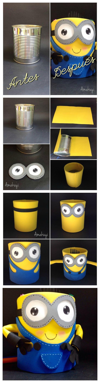 diy reciclar lata y convertirla en un portalápices con el motivo de #minions