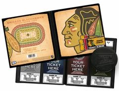 Personalized Chicago Blackhawks Ticket Album - Vintage Design. Add your name to this album made to hold your tickets.
