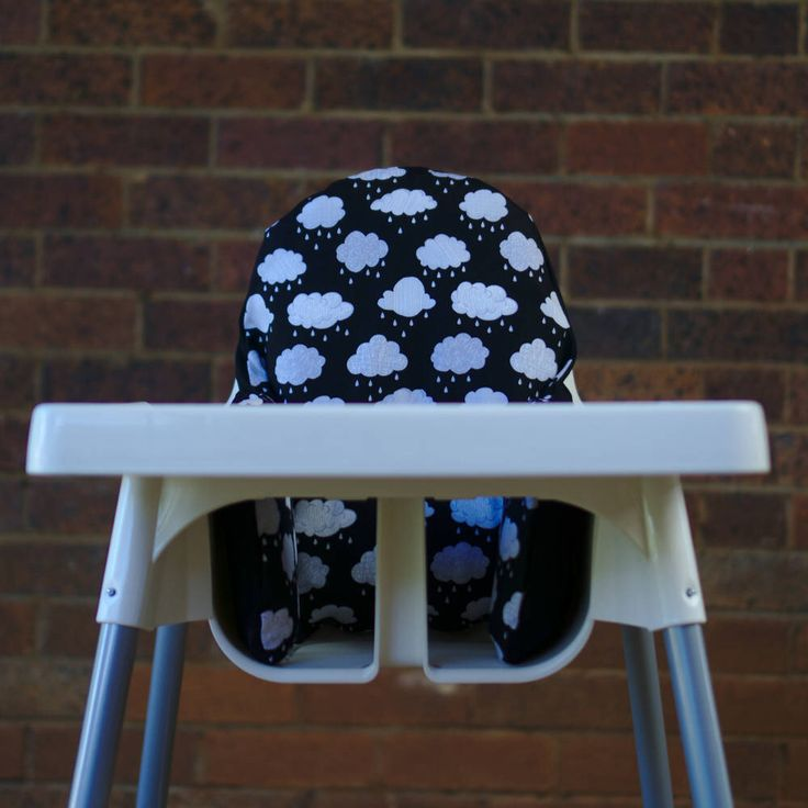 Clouds IKEA High Chair Cover, IKEA Antilop Cover, Highchair Cover, High Chair Cushion, High Chair Insert, First Birthday, Monochrome Nursery by PearOfStitches on Etsy https://www.etsy.com/au/listing/523723802/clouds-ikea-high-chair-cover-ikea