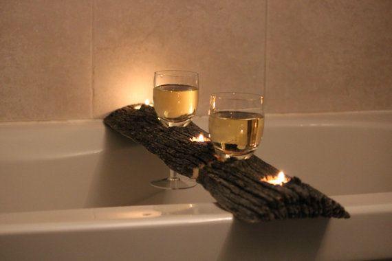 Fienile legno bagno vassoio/candela & vino titolare/rustico