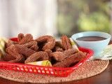 Bobby Flay's Brunch Mini Pumpkin Churros Chocolate-Coffee Dipping Sauce : Recipes : Cooking Channel