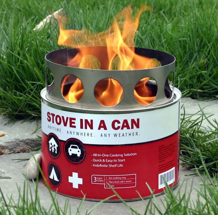 Stove in a Can - Virtually anything can be cooked on our stove in a can.  Features:  Works in extreme weather conditions,  Can boil water in less than 5 min,  Compact and portable,  Sets up and cleans up in seconds,  Fuel source is safe and non-explosive,  Includes 4-5 hours of fuel cells